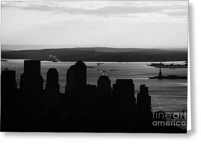 Sunset View Of Lower Manhattan Financial District Bay New York Silhouette City Greeting Card
