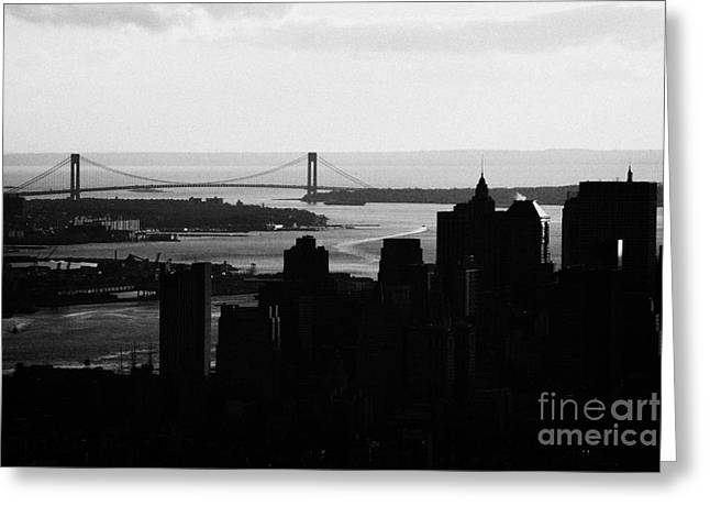 sunset view of manhattan financial district new york bay and Verrazano Narrows Bridge Greeting Card