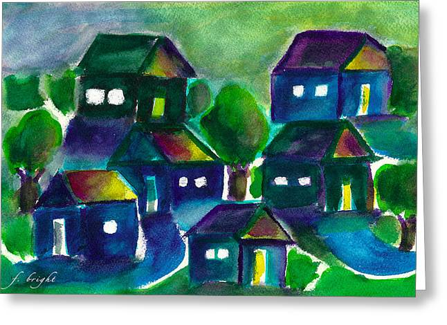 Greeting Card featuring the painting Sunset Village Watercolor by Frank Bright
