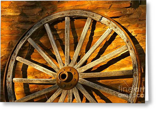 Sunset Wagon Wheel Greeting Card