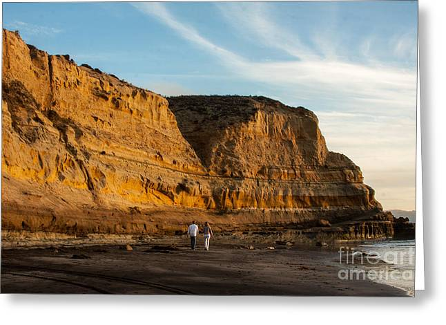 Sunset Walk At Flat Rock  La Jolla California Greeting Card