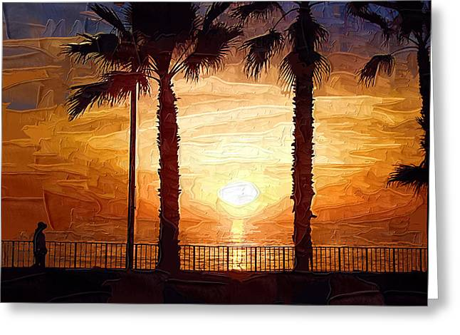Sunset Walk Greeting Card by Kirt Tisdale