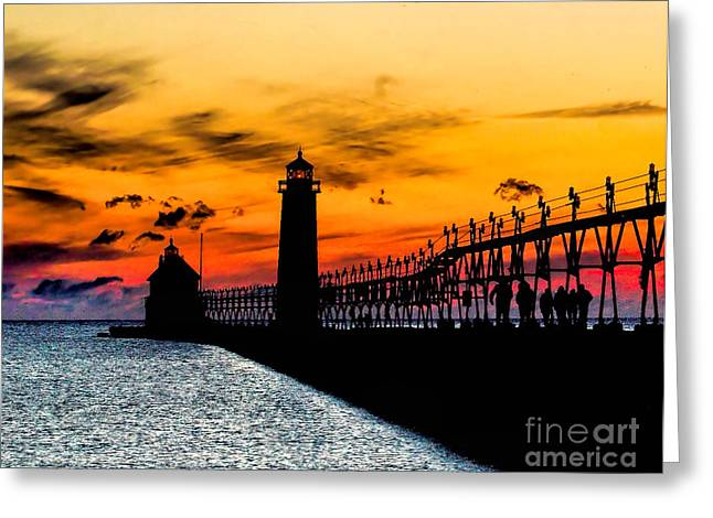 Sunset Walking On Grand Haven Pier Greeting Card