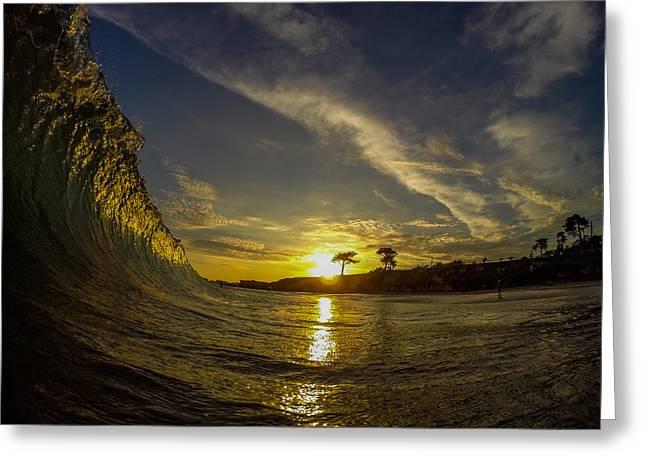 Sunset Wall Greeting Card by David Alexander