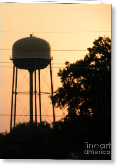 Sunset Water Tower Greeting Card by Joseph Baril