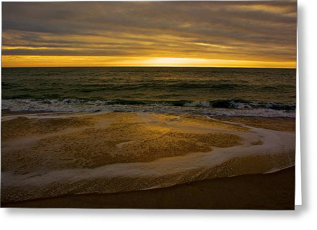 Sunset Waves Greeting Card by Kathi Isserman