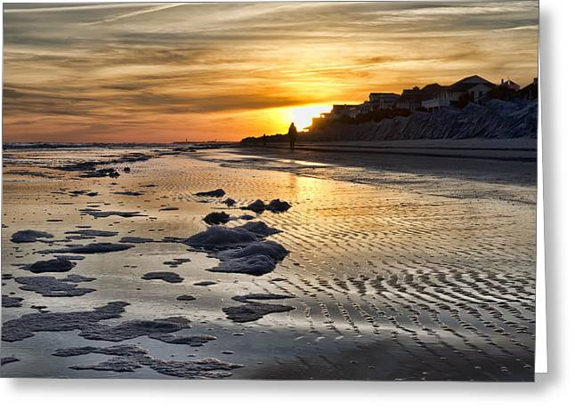 Sunset Wild Dunes Beach South Carolina Greeting Card by Evie Carrier