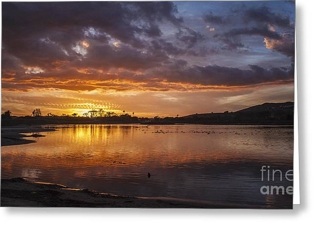 Sunset With Clouds Over Malibu Beach Lagoon Estuary Greeting Card