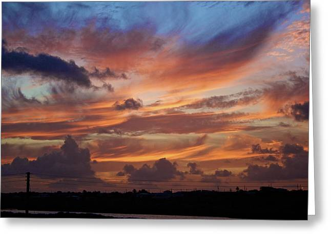 Sunset With Feathers In The Sky Greeting Card