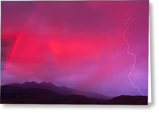 Sunset With Lightning And Rainbow Four Greeting Card by Panoramic Images