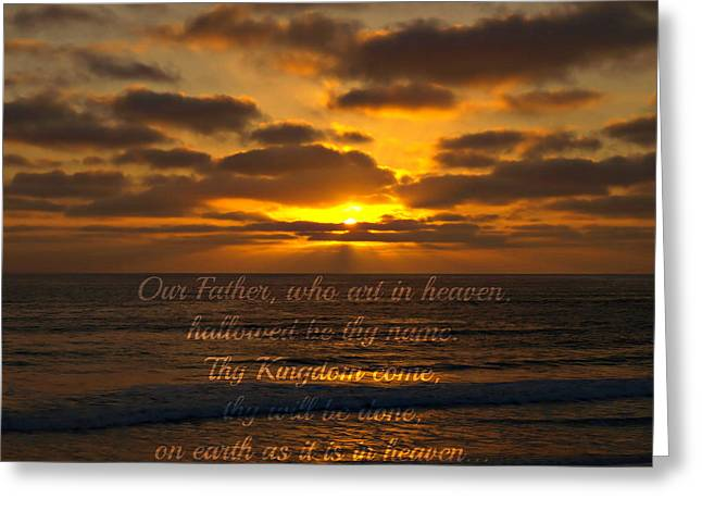Sunset With Prayer Greeting Card by Sharon Soberon