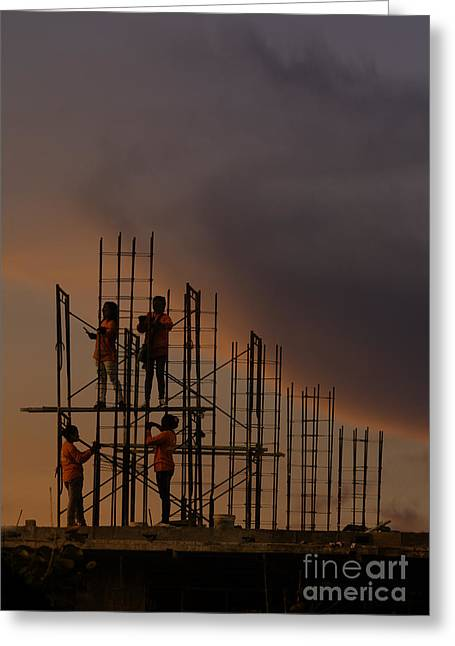 Sunset Workers Greeting Card by Soren Egeberg