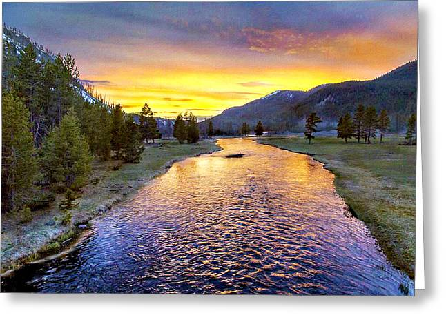 Sunset Yellowstone National Park Madison River Greeting Card