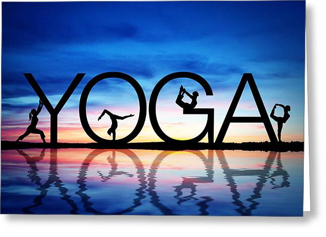 Sunset Yoga Greeting Card by Aged Pixel