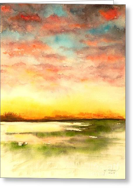 Sunset Greeting Card by Yoshiko Mishina