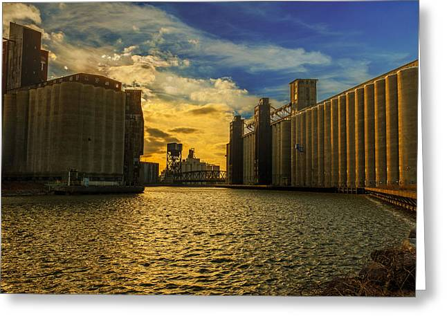 Sunsets On A River Through An Industrial Canyon Greeting Card by Chris Bordeleau