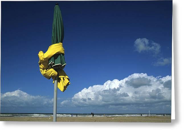 Sunshade On The Beach. Deauville Greeting Card by Bernard Jaubert