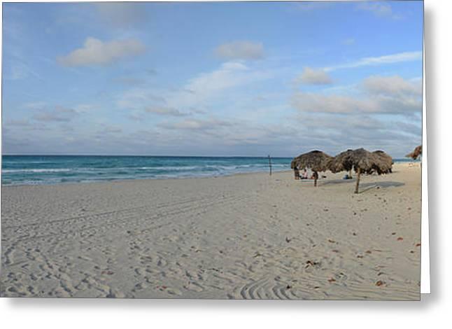 Sunshades On The Beach, Varadero Greeting Card by Panoramic Images