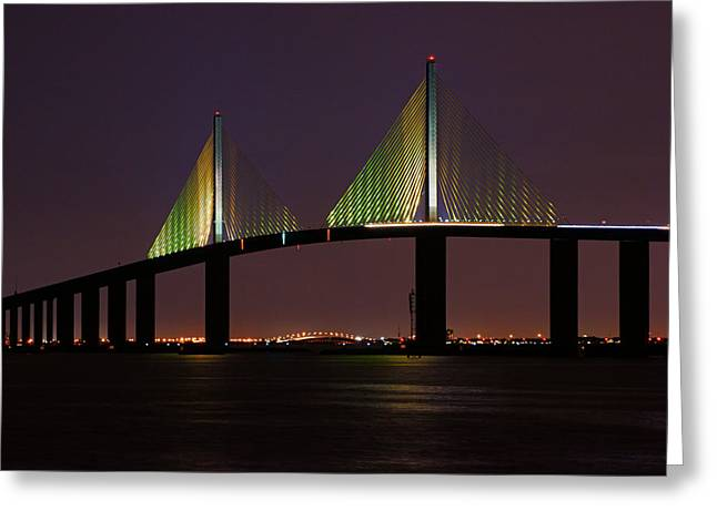 Sunshine Skyway At Dusk Greeting Card