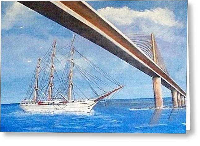 Sunshine Skyway Bridge  Greeting Card by Catherine Swerediuk
