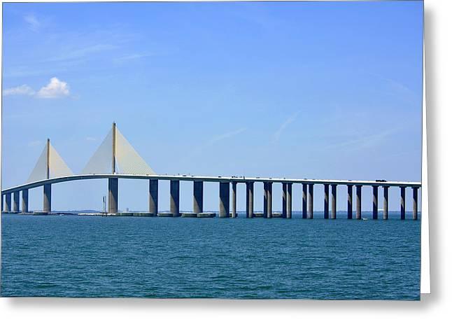 Sunshine Skyway Bridge II Tampa Bay Florida Usa Greeting Card by Sally Rockefeller