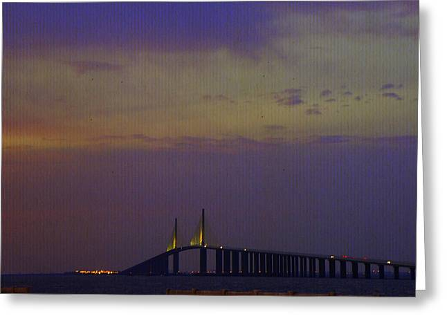Sunshine Skyway Bridge Greeting Card by Laurie Perry