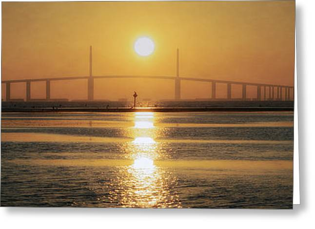 Greeting Card featuring the photograph Sunshine Skyway Bridge Sunrise by Steven Sparks