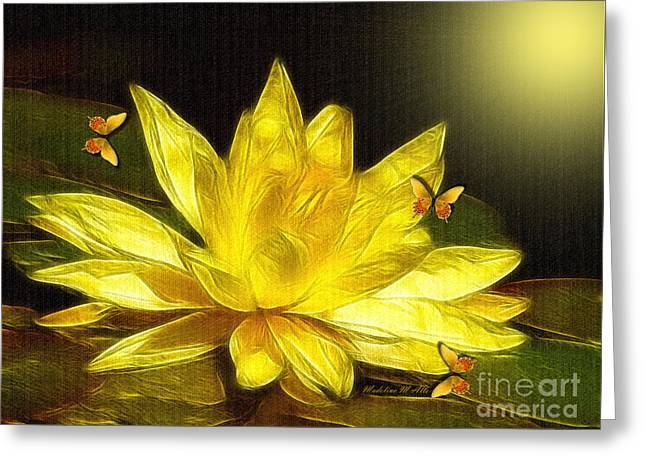Sunshine Yellow Water Lily Greeting Card by Madeline  Allen - SmudgeArt