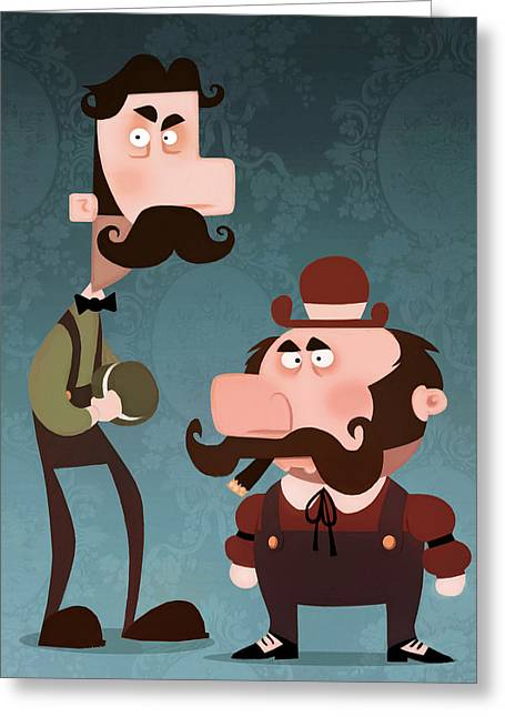 Super Bros. Greeting Card by Adam Ford