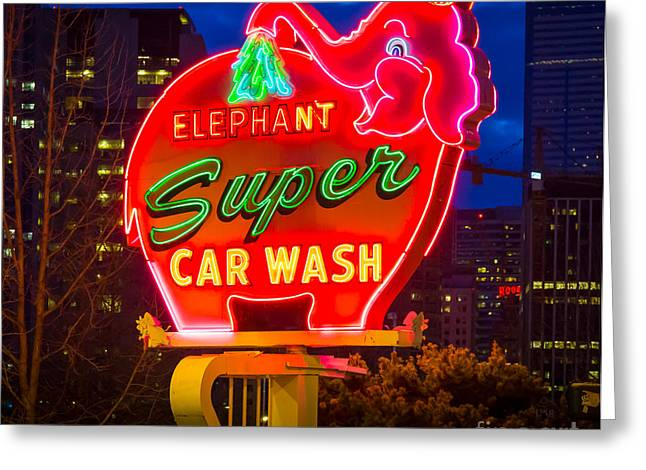 Super Car Wash Greeting Card by Inge Johnsson