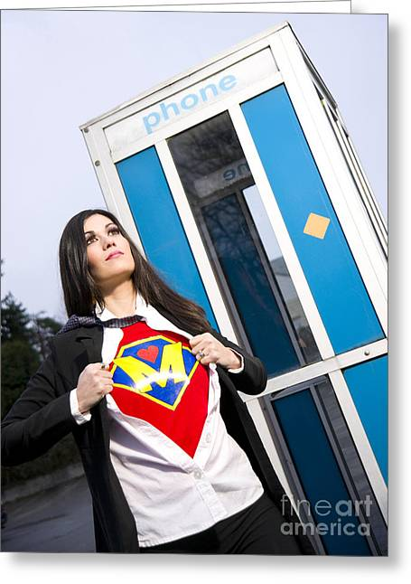 Super Mom Superhero Leaves Phone Booth Ready For Crimefighting Greeting Card