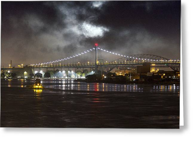 Super Moon And Triboro Bridge Greeting Card