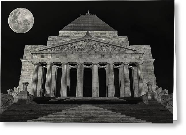Super Moon Behind Shrine Of Remembrance  Greeting Card