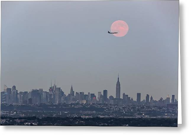 Super Moon Over New York City Greeting Card