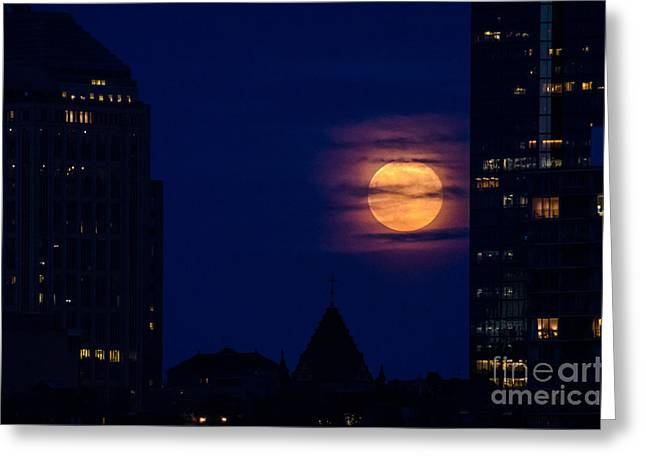 Greeting Card featuring the photograph Super Moon Rises by Mike Ste Marie