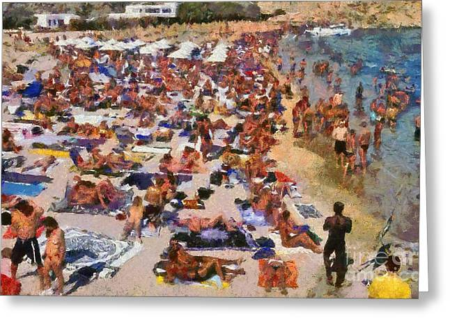 Super Paradise Beach In Mykonos Island Greeting Card by George Atsametakis