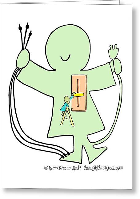 Super-self Dimmer Switch Greeting Card by Lorraine Mullett
