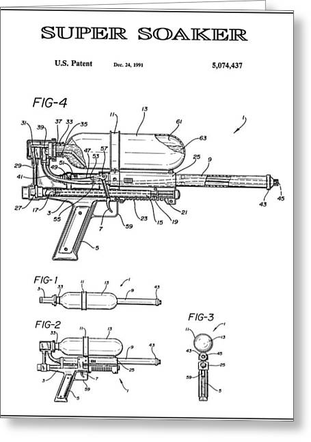 Super Soaker 3 Patent Art 1991 Greeting Card
