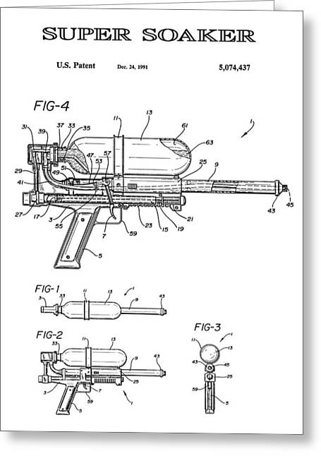 Super Soaker 4 Patent Art 1991 Greeting Card