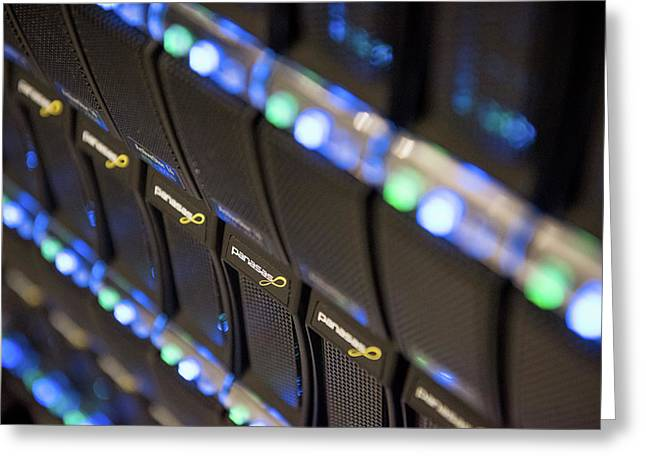 Supercomputer Storage Blades Greeting Card by John Cairns Photography/oxford University Images