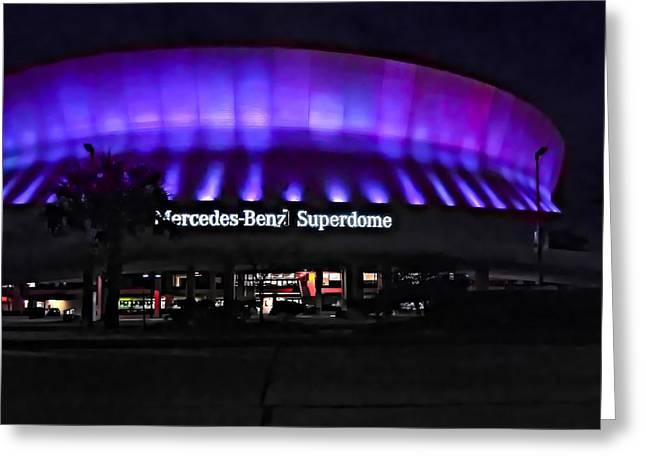 Superdome Night Greeting Card by Steve Harrington