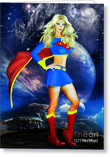 Supergirl Greeting Card by Alicia Hollinger
