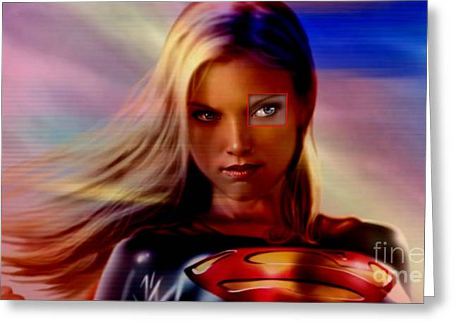 Supergirl Greeting Card by Marvin Blaine