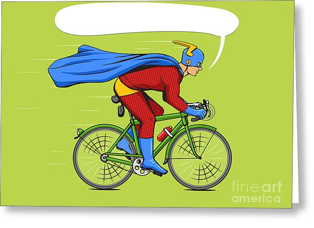 Superhero On A Bicycle Cartoon Pop Art Greeting Card by Alexander p