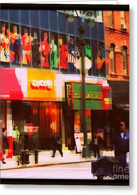 Superheroes Of New York - Midtown In Gotham City Greeting Card