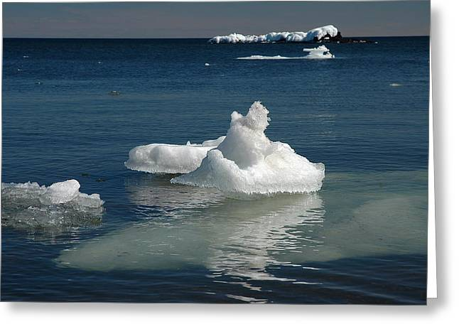 Greeting Card featuring the photograph Superior Blues And Ice by Sandra Updyke