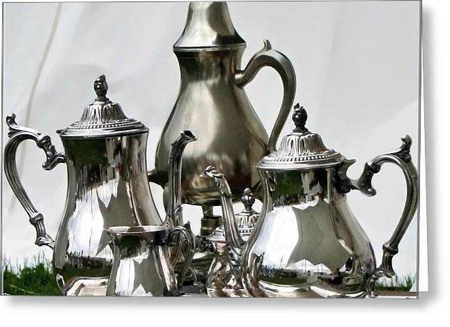 Superior Officers Silverware And Tea Service From  The Stoney Creek War Of  1812 Greeting Card by Danielle  Parent