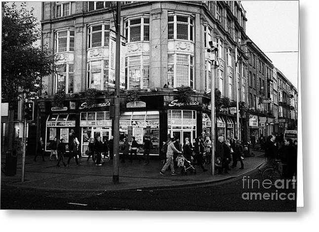 Supermacs Fast Food Restaurant Oconnell Street Dublin Republic Of Ireland Greeting Card by Joe Fox