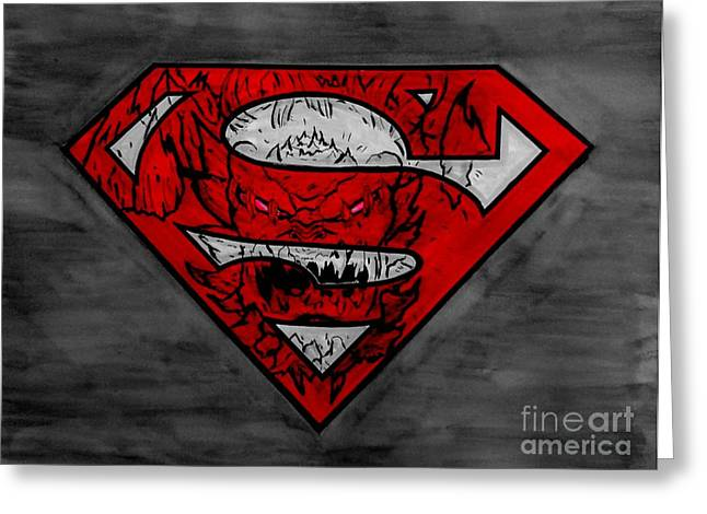 Superman And Doomsday R G Greeting Card by Justin Moore