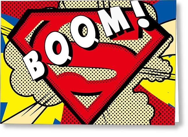 Superman Boom  Greeting Card by Mark Ashkenazi
